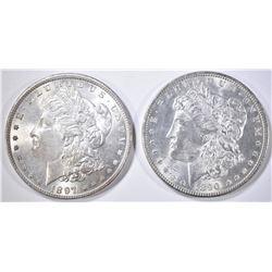 1890 & 97 CH BU MORGAN DOLLARS