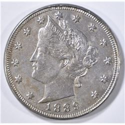 1889 LIBERTY NICKEL, AU/BU
