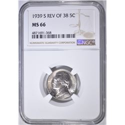 1939-S REV OF 38 JEFFERSON NICKEL, NGC MS-66