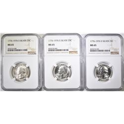 3-1976-S SILVER WASHINGTOJN QUARTERS, NGC MS-65