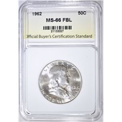 1962 FRANKLIN HALF, OBCS SUPERB GEM BU FBL