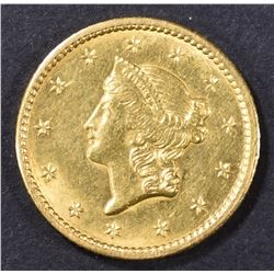 1849 $1 GOLD LIBERTY CH BU CLOSED WREATH