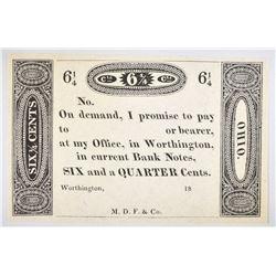 1810-20'S 6 1/4 CENT WORTHINGTON, OHIO