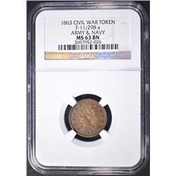 1863 CIVIL WAR TOKEN NGC MS-63 BN
