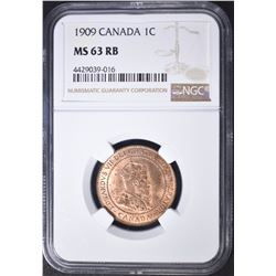 1909 1 CENT CANADA  NGC MS-63 RB