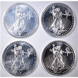 4-ONE OUNCE .999 SILVER LIBERTY ROUNDS