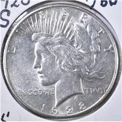 1928-S PEACE DOLLAR, CH AU