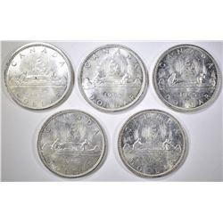 5-1965 BU CANADIAN SILVER DOLLARS