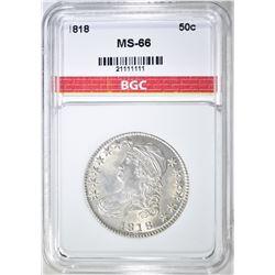 1818 BUST HALF DOLLAR  BGC SUPERB GEM BU