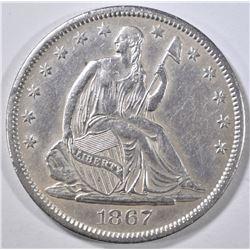 1867-S SEATED LIBERTY HALF DOLLAR CH AU