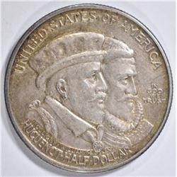 1924 HUGUENOT COMMEM HALF DOLLAR  XF
