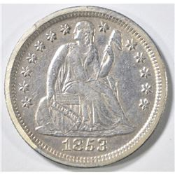 1853 NO ARROWS SEATED LIBERTY DIME   XF/AU
