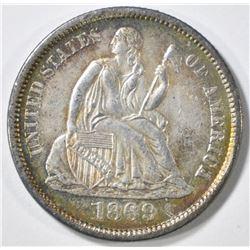 1869-S SEATED LIBERTY DIME  AU/BU
