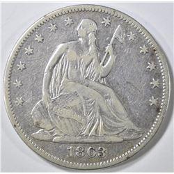 1863 SEATED HALF DOLLAR   VF