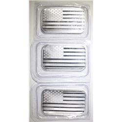 3-ONE OUNCE .999 SILVER AMERICAN FLAG BARS