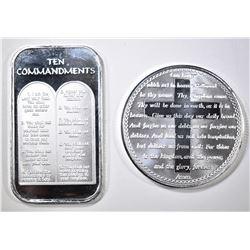 10-COMANDMENTS, LORD'S PRAYER ROUND 1oz SILVER Pcs