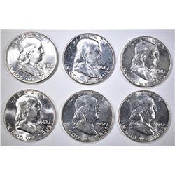 3-1958 & 3-62 BU FRANKLIN HALF DOLLARS