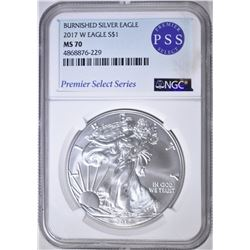 2017-W BURNISHED SILVER EAGLE, NGC MS-70