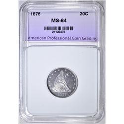 1875 20 CENT PIECE, APCG CH/ GEM BU