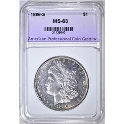 1886-S MORGAN DOLLAR, APCG CH BU