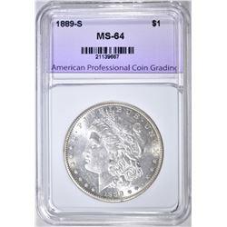 1889-S MORGAN DOLLAR, APCG CH/ GEM BU