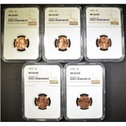 5 - 1975 LINCOLN CENT NGC MS-66RD