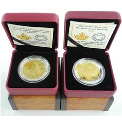 Lot (2) .9999 Fine Silver $20.00 Coins 'Love and Humility' with C.O.A. Selective - Gold Plating.