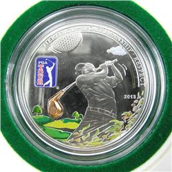 925 Sterling Silver $5.00 Proof - PGA Tour LE 2500 with 3D Golf Club Inside.
