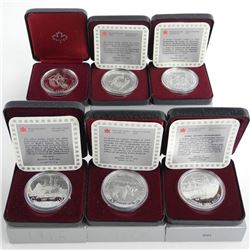 Lot (6) 1775-1999 Commemorative Sterling Silver Dollar Original Unopened Mintage Package