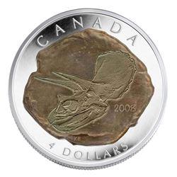 2008 .9999 Fine Silver $4.00 Coin Triceratops Scarce (SER)