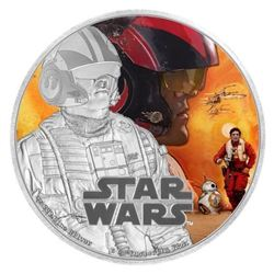 Disney STAR WARS Poe Dameron .999 Fine Silver Proof 1 Troy oz 2.00 Coin LE with C.O.A.