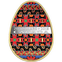 2018 .9999 Fine Silver $20.00 Coin 'Golden Spring Pysanka' LE/C.O.A. SOLD OUT Mintage 5000