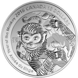 2016 .9999 Fine Silver $10.00 Coin 'Year of the Monkey' LE/C.O.A. Low Mintage