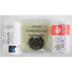 Group - RCM First strike 2.00 Coins 2018 and 2019 Original Rolls Plus 2019 2.00 MS63. First Strike I