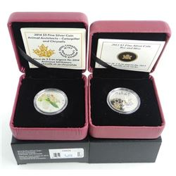 Lot (2) .9999 Fine Silver $3.00 Coins 'Caterpillar' and 'Bee Hive' LE/C.O.A.