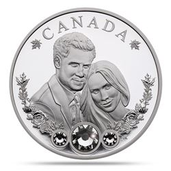 Royal Wedding 'Harry and Meghan' .9999 Fine Silver $20.00 Coin with Swarovski Crystals 1oz ASW Low M