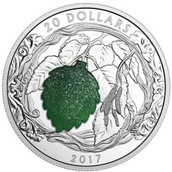 .9999 Fine Silver $20.00 Coin 2017 Birch Leaves with Drusy Stone Mintage 5500 - 1oz Coin. LE/C.O.A.