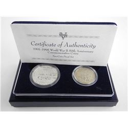 World War II 50th Anniversary Coins 2 Proof Coin Set