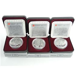 Lot (3) 925 Sterling Silver Proof Dollars 1993, 1994, 1995