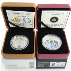 Group of (2) .9999 Fine Silver $10.00 and $20.00 Coins Jacques Plante and Pond Hockey LE/C.O.A.