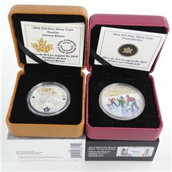 Lot (2) .9999 Fine Silver $10.00 and $20.00 Coins 'Johnny Bower' and Pond Hockey' LE/C.O.A.