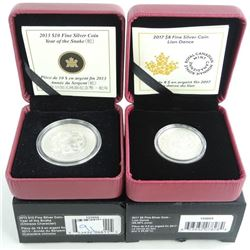 Group of (2) .9999 Fine Silver $8.00 and $10.00 Coins 'Lion Dance' and 'Snake'