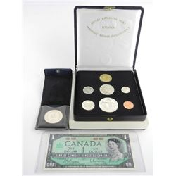 RCM 1867-1967 Silver Coin Set with Silver Medallion and $1.00 Note.