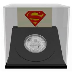 Vintage 2013 $10.00 .9999 Fine Silver Coin, 75th Anniversary of Superman. Display Cube