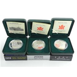 Group of (3) RCM Proof Silver Dollars, 925 Sterling 1999-2000-2001