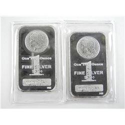 Lot (2) .9999 Fine Silver Bars 2oz ASW