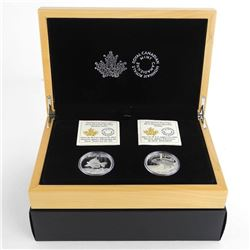 North American Sportfish 2x .9999 Fine Silver $20.00 Coins, 'Walleye and Trout' with Display Case.