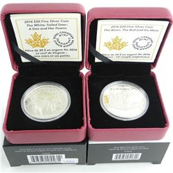 Lot (2) .9999 Fine Silver $2000 Coins: 'Deer' and 'Bison' LE/C.O.A.