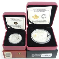 Group of (2) .9999 Fine Silver $30.00 and $1.00 Coins, 75th Anniversary Second WW and LE Dollar, End