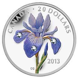 .9999 Fine Silver $20.0 Coin 'Blue Flag - Iris' Versicolor. LE/C.O.A.